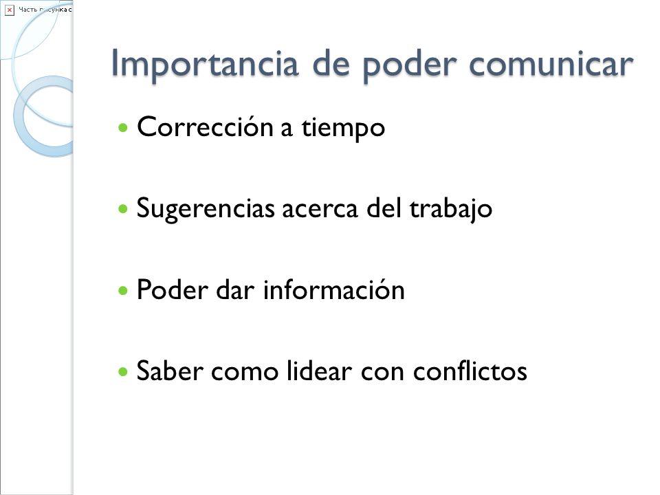 Importancia de poder comunicar Corrección a tiempo Sugerencias acerca del trabajo Poder dar información Saber como lidear con conflictos