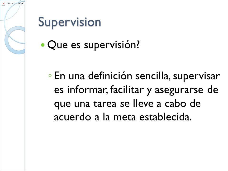 Supervision Que es supervisión? En una definición sencilla, supervisar es informar, facilitar y asegurarse de que una tarea se lleve a cabo de acuerdo