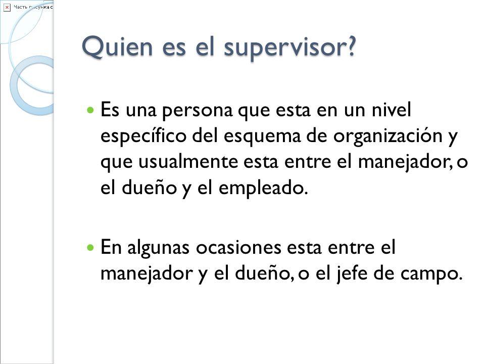 Quien es el supervisor? Es una persona que esta en un nivel específico del esquema de organización y que usualmente esta entre el manejador, o el dueñ