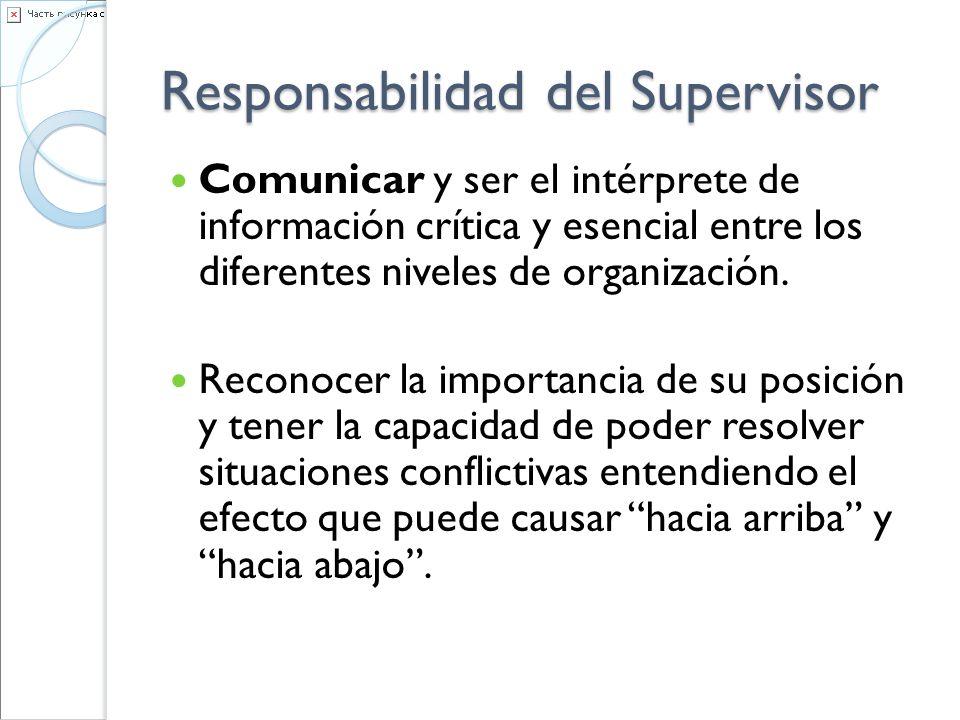 Responsabilidad del Supervisor Comunicar y ser el intérprete de información crítica y esencial entre los diferentes niveles de organización. Reconocer