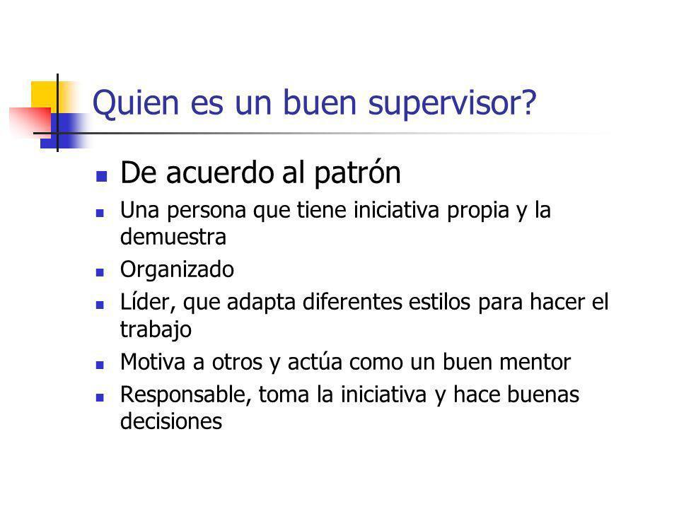 Quien es un buen supervisor? De acuerdo al patrón Una persona que tiene iniciativa propia y la demuestra Organizado Líder, que adapta diferentes estil