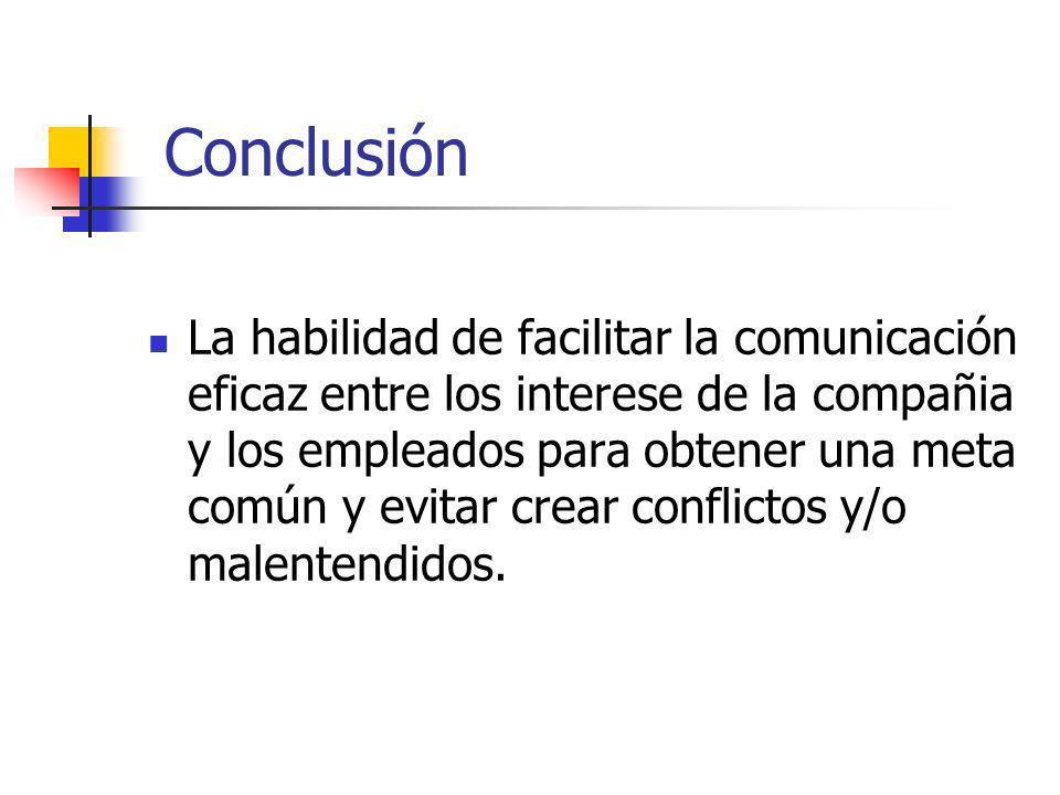 Conclusión La habilidad de facilitar la comunicación eficaz entre los interese de la compañia y los empleados para obtener una meta común y evitar cre