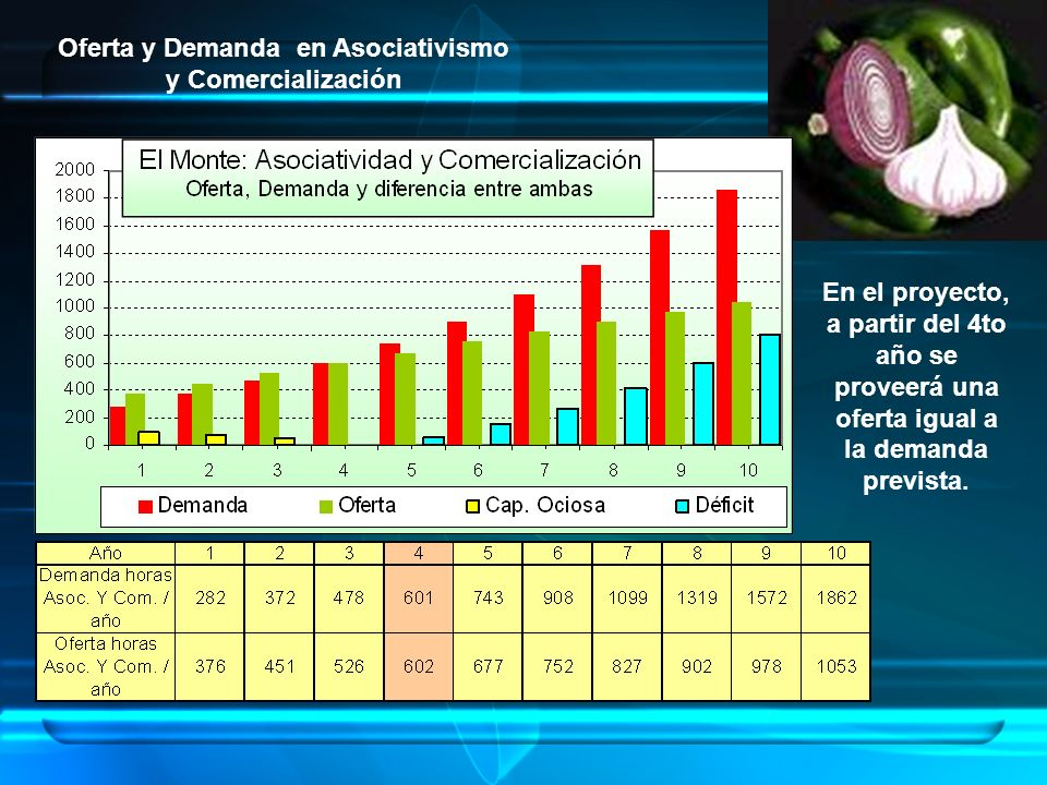 Oferta y Demanda en Asociativismo y Comercialización En el proyecto, a partir del 4to año se proveerá una oferta igual a la demanda prevista.