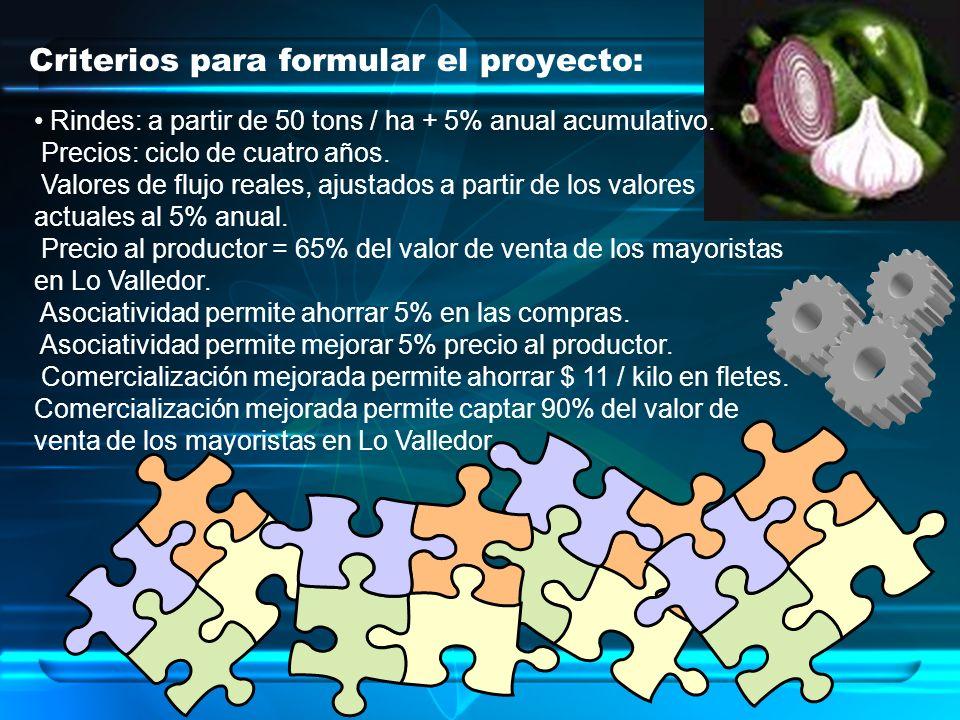 Criterios para formular el proyecto: Rindes: a partir de 50 tons / ha + 5% anual acumulativo. Precios: ciclo de cuatro años. Valores de flujo reales,