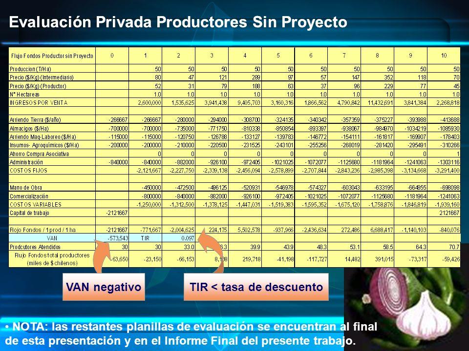 Evaluación Privada Productores Sin Proyecto VAN negativoTIR < tasa de descuento Evaluación Privada Productores Sin Proyecto NOTA: las restantes planillas de evaluación se encuentran al final de esta presentación y en el Informe Final del presente trabajo.