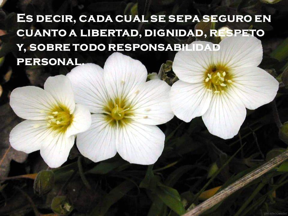 Es decir, cada cual se sepa seguro en cuanto a libertad, dignidad, respeto y, sobre todo responsabilidad personal.