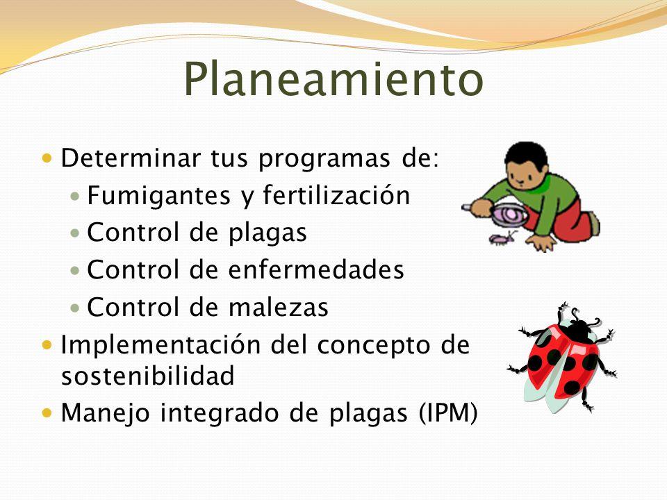Planeamiento Determinar tus programas de: Fumigantes y fertilización Control de plagas Control de enfermedades Control de malezas Implementación del c