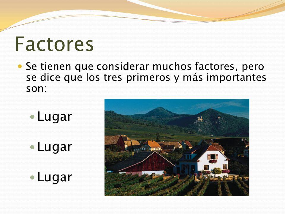 Factores Se tienen que considerar muchos factores, pero se dice que los tres primeros y más importantes son: Lugar