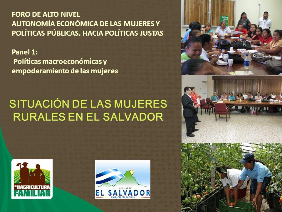 1 SITUACIÓN DE LAS MUJERES RURALES EN EL SALVADOR FORO DE ALTO NIVEL AUTONOMÍA ECONÓMICA DE LAS MUJERES Y POLÍTICAS PÚBLICAS.