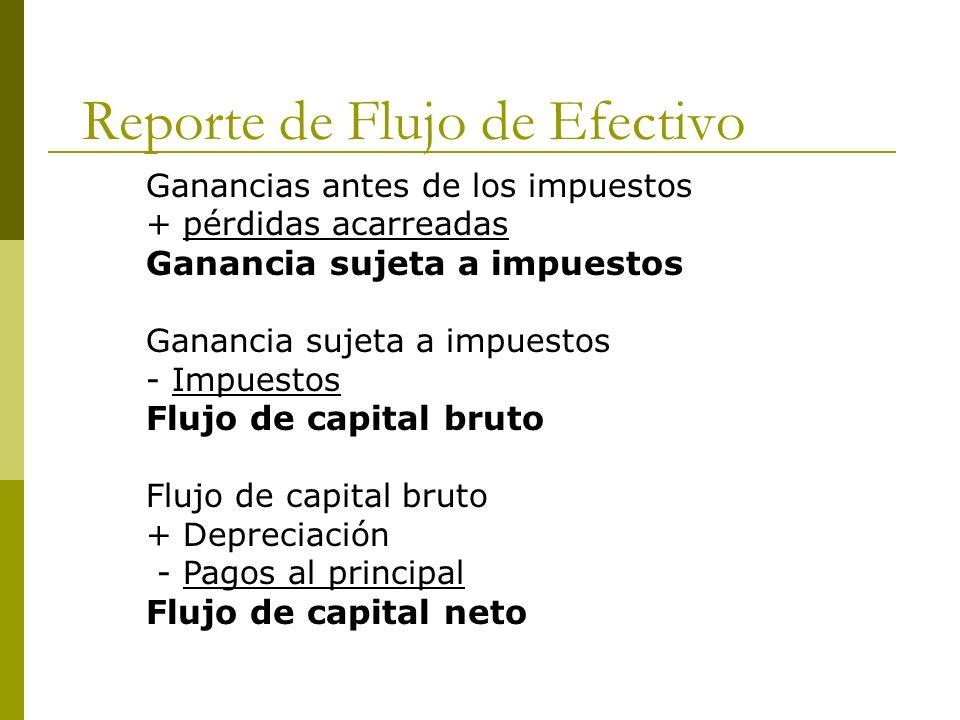 Reporte de Flujo de Efectivo Ganancias antes de los impuestos + pérdidas acarreadas Ganancia sujeta a impuestos - Impuestos Flujo de capital bruto + D