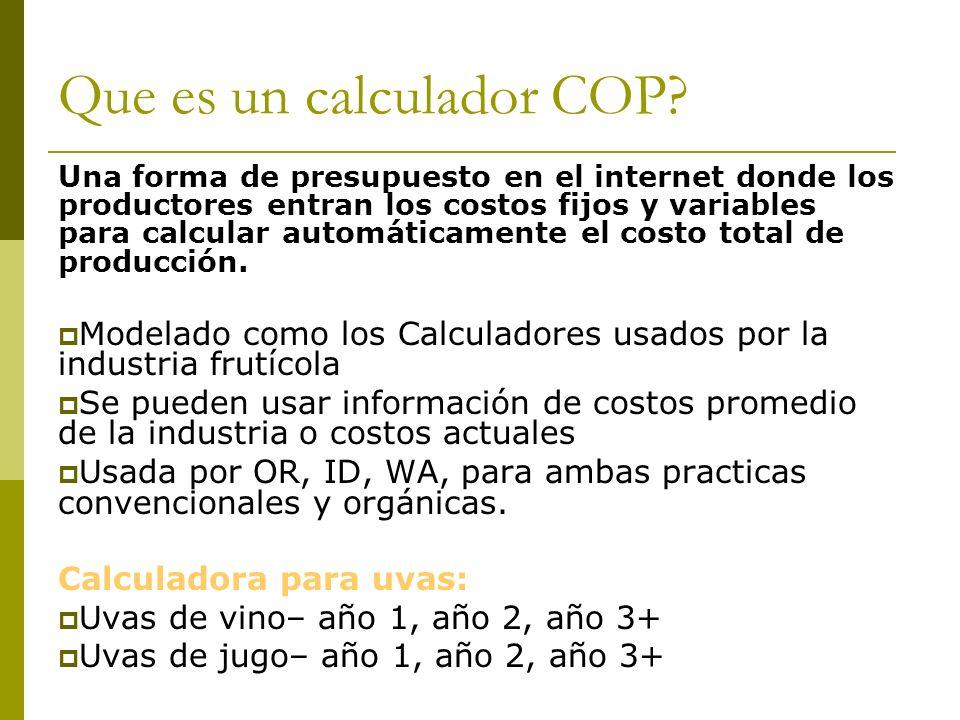 Que es un calculador COP? Una forma de presupuesto en el internet donde los productores entran los costos fijos y variables para calcular automáticame
