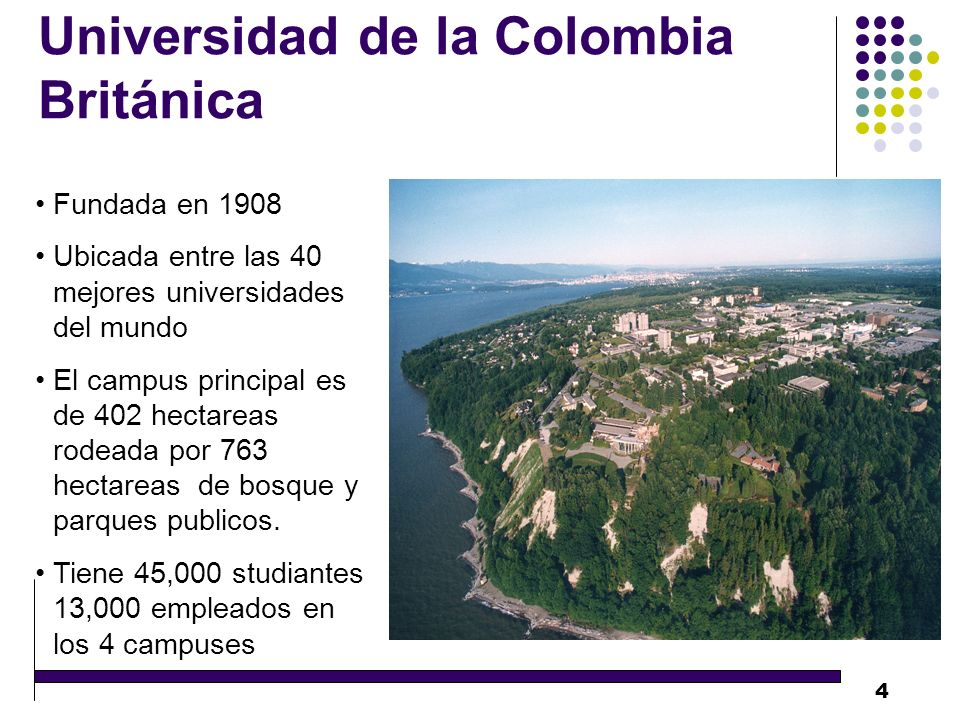 4 Universidad de la Colombia Británica Fundada en 1908 Ubicada entre las 40 mejores universidades del mundo El campus principal es de 402 hectareas rodeada por 763 hectareas de bosque y parques publicos.