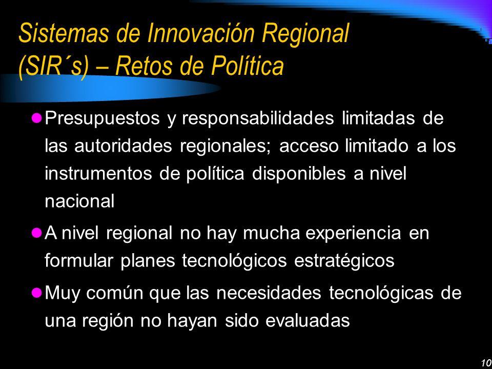 10 Sistemas de Innovación Regional (SIR´s) – Retos de Política Presupuestos y responsabilidades limitadas de las autoridades regionales; acceso limita