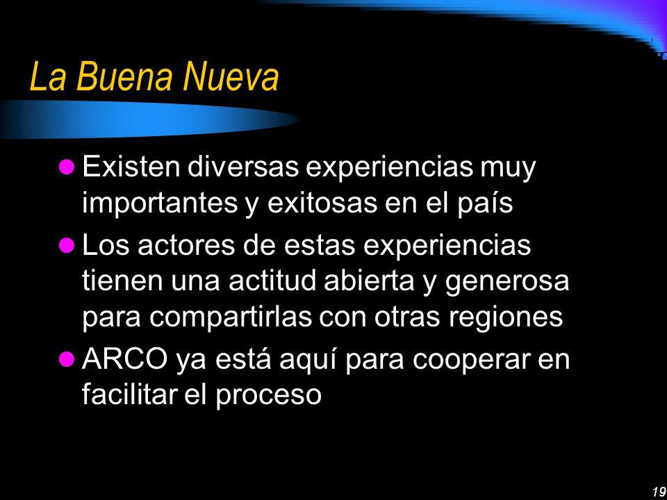 19 La Buena Nueva Existen diversas experiencias muy importantes y exitosas en el país Los actores de estas experiencias tienen una actitud abierta y g