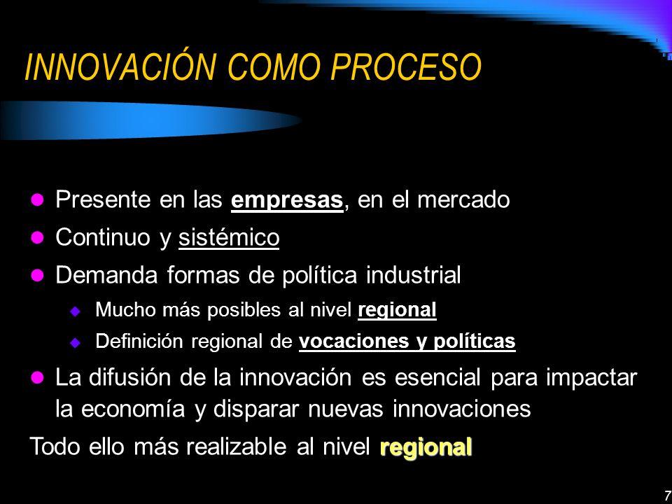 7 INNOVACIÓN COMO PROCESO Presente en las empresas, en el mercado Continuo y sistémico Demanda formas de política industrial regional Mucho más posibles al nivel regional Definición regional de vocaciones y políticas La difusión de la innovación es esencial para impactar la economía y disparar nuevas innovaciones regional Todo ello más realizable al nivel regional