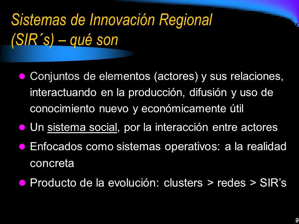 9 Sistemas de Innovación Regional (SIR´s) – qué son Conjuntos de elementos (actores) y sus relaciones, interactuando en la producción, difusión y uso de conocimiento nuevo y económicamente útil Un sistema social, por la interacción entre actores Enfocados como siste mas operativos: a la realidad concreta Producto de la evolución: clusters > redes > SIRs