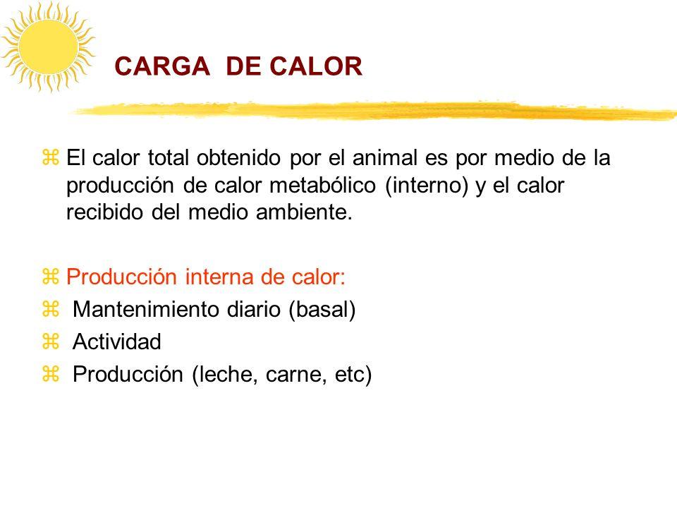 CARGA DE CALOR zEl calor total obtenido por el animal es por medio de la producción de calor metabólico (interno) y el calor recibido del medio ambien
