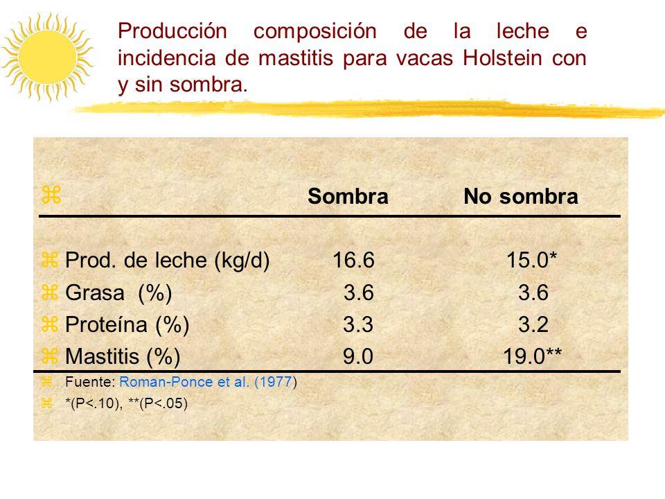 Producción composición de la leche e incidencia de mastitis para vacas Holstein con y sin sombra. Sombra No sombra zProd. de leche (kg/d) 16.6 15.0* z