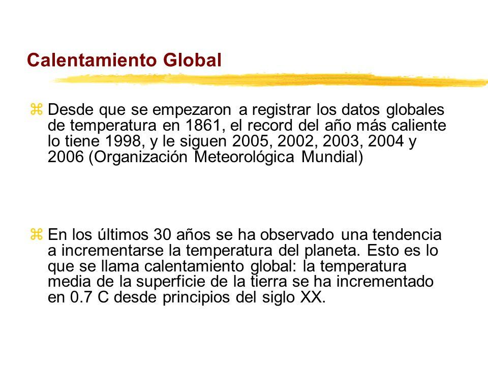 Calentamiento Global zDesde que se empezaron a registrar los datos globales de temperatura en 1861, el record del año más caliente lo tiene 1998, y le