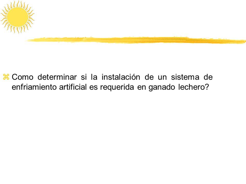 zComo determinar si la instalación de un sistema de enfriamiento artificial es requerida en ganado lechero?