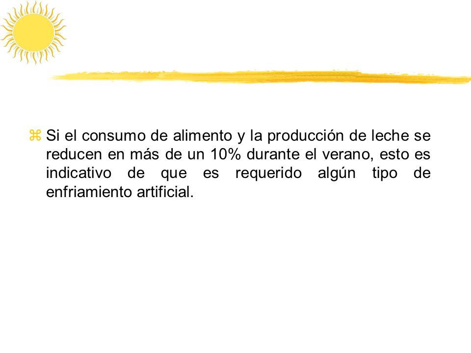 zSi el consumo de alimento y la producción de leche se reducen en más de un 10% durante el verano, esto es indicativo de que es requerido algún tipo d