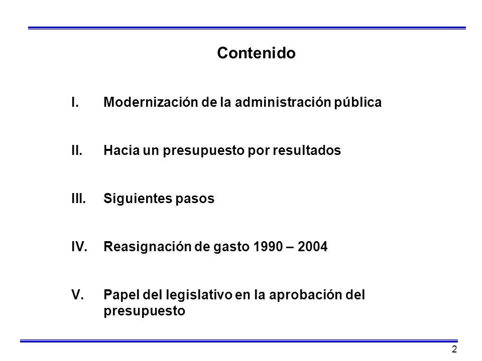 2 Contenido I.Modernización de la administración pública II.Hacia un presupuesto por resultados III.Siguientes pasos IV.Reasignación de gasto 1990 – 2