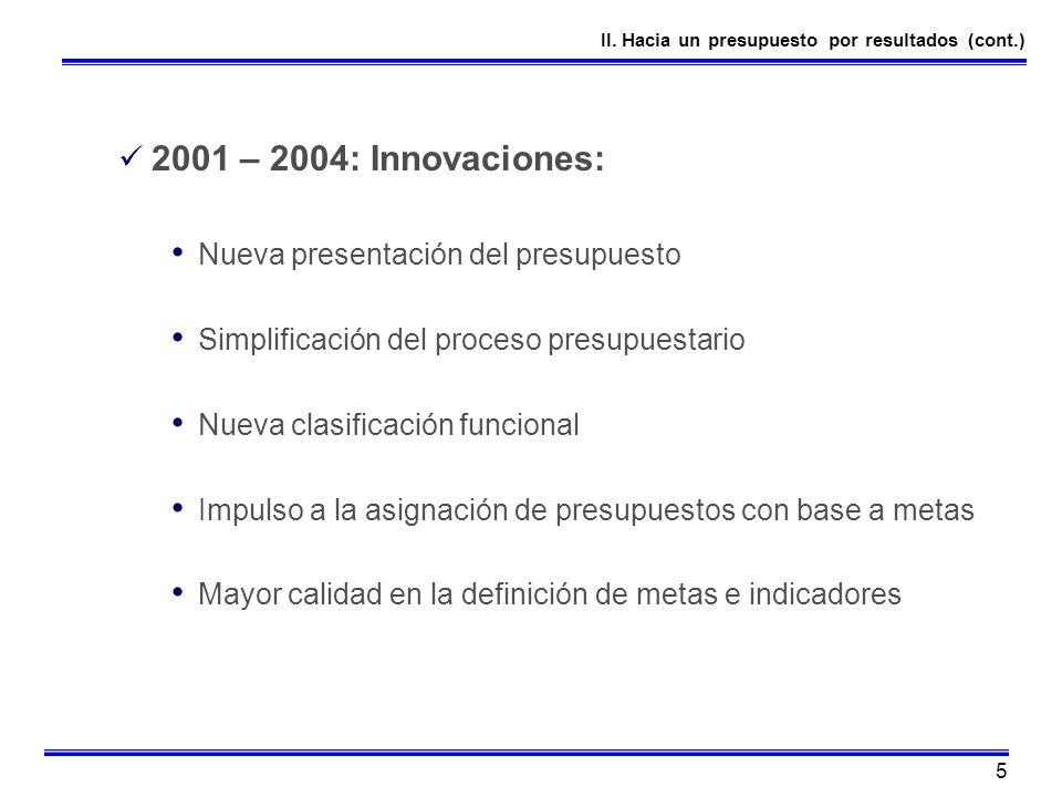 5 2001 – 2004: Innovaciones: Nueva presentación del presupuesto Simplificación del proceso presupuestario Nueva clasificación funcional Impulso a la a