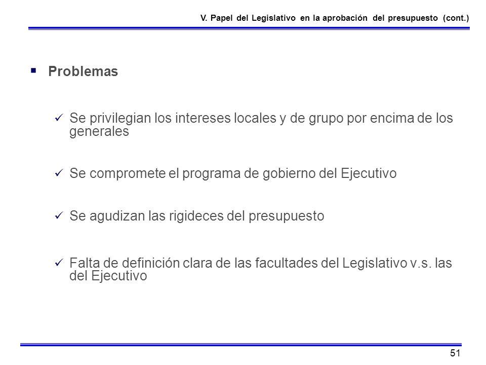 51 Problemas Se privilegian los intereses locales y de grupo por encima de los generales Se compromete el programa de gobierno del Ejecutivo Se agudiz