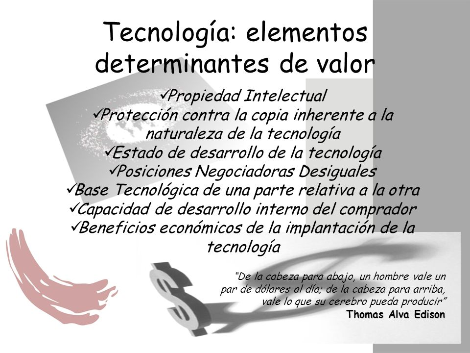 Propiedad Intelectual Protección contra la copia inherente a la naturaleza de la tecnología Estado de desarrollo de la tecnología Posiciones Negociado