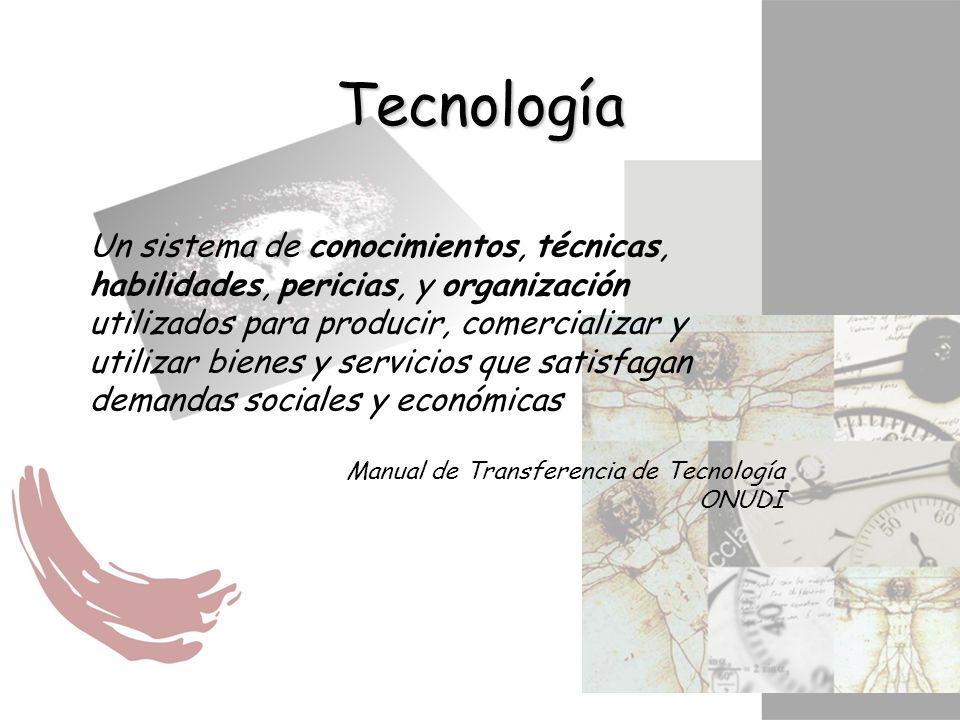 Un sistema de conocimientos, técnicas, habilidades, pericias, y organización utilizados para producir, comercializar y utilizar bienes y servicios que