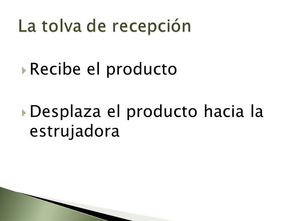 Recibe el producto Desplaza el producto hacia la estrujadora