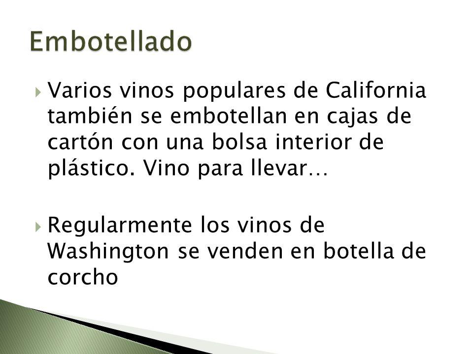 Varios vinos populares de California también se embotellan en cajas de cartón con una bolsa interior de plástico. Vino para llevar… Regularmente los v