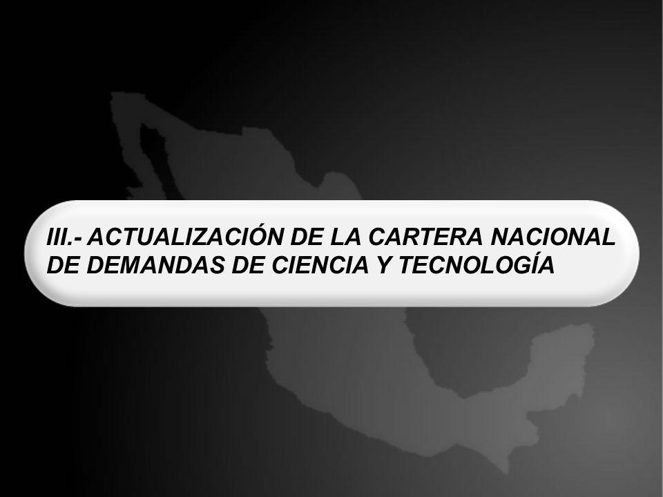 III.- ACTUALIZACIÓN DE LA CARTERA NACIONAL DE DEMANDAS DE CIENCIA Y TECNOLOGÍA