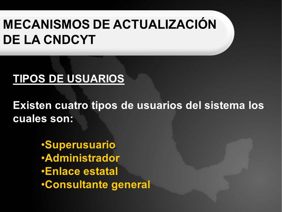MECANISMOS DE ACTUALIZACIÓN DE LA CNDCYT TIPOS DE USUARIOS Existen cuatro tipos de usuarios del sistema los cuales son: Superusuario Administrador Enlace estatal Consultante general