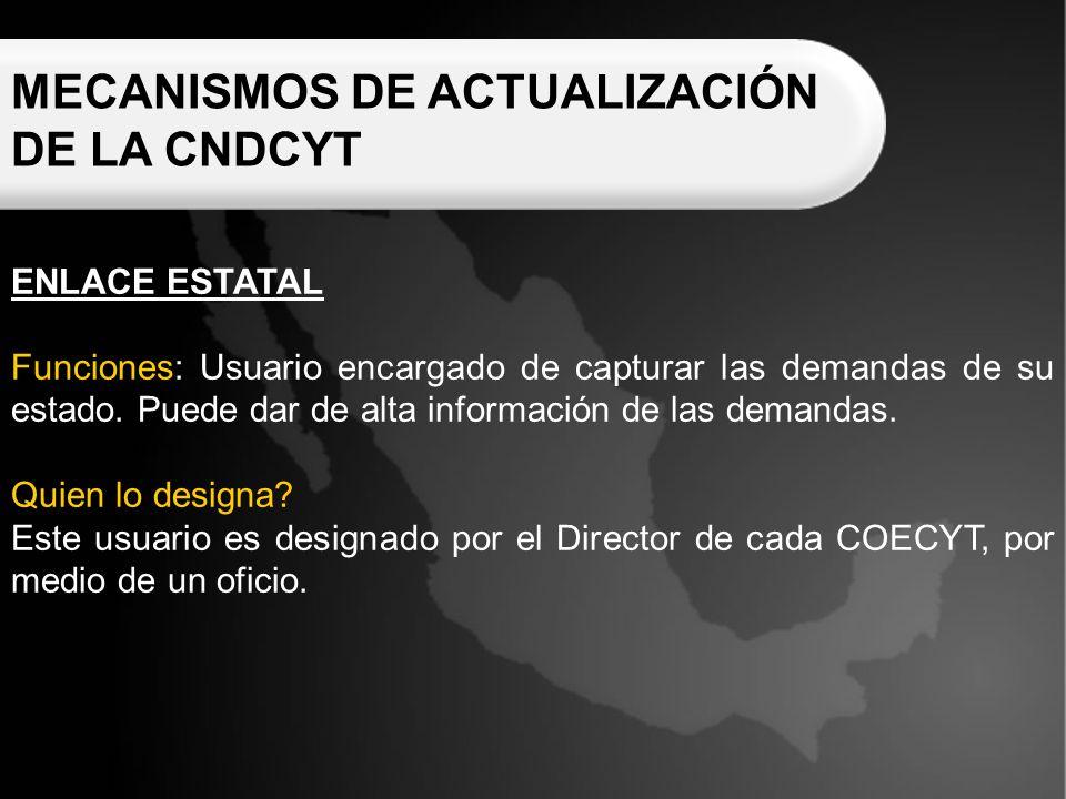 MECANISMOS DE ACTUALIZACIÓN DE LA CNDCYT ENLACE ESTATAL Funciones: Usuario encargado de capturar las demandas de su estado.