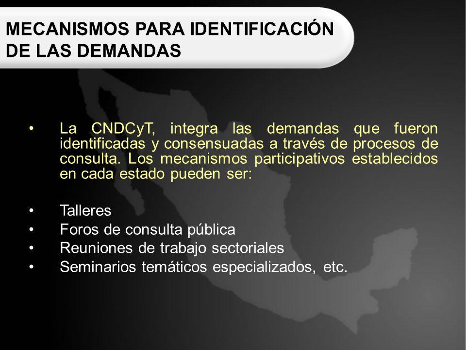 MECANISMOS PARA IDENTIFICACIÓN DE LAS DEMANDAS La CNDCyT, integra las demandas que fueron identificadas y consensuadas a través de procesos de consulta.