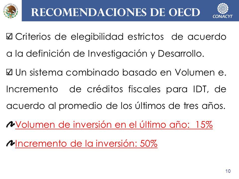 recomendaciones DE OECD Criterios de elegibilidad estrictos de acuerdo a la definición de Investigación y Desarrollo. Un sistema combinado basado en V