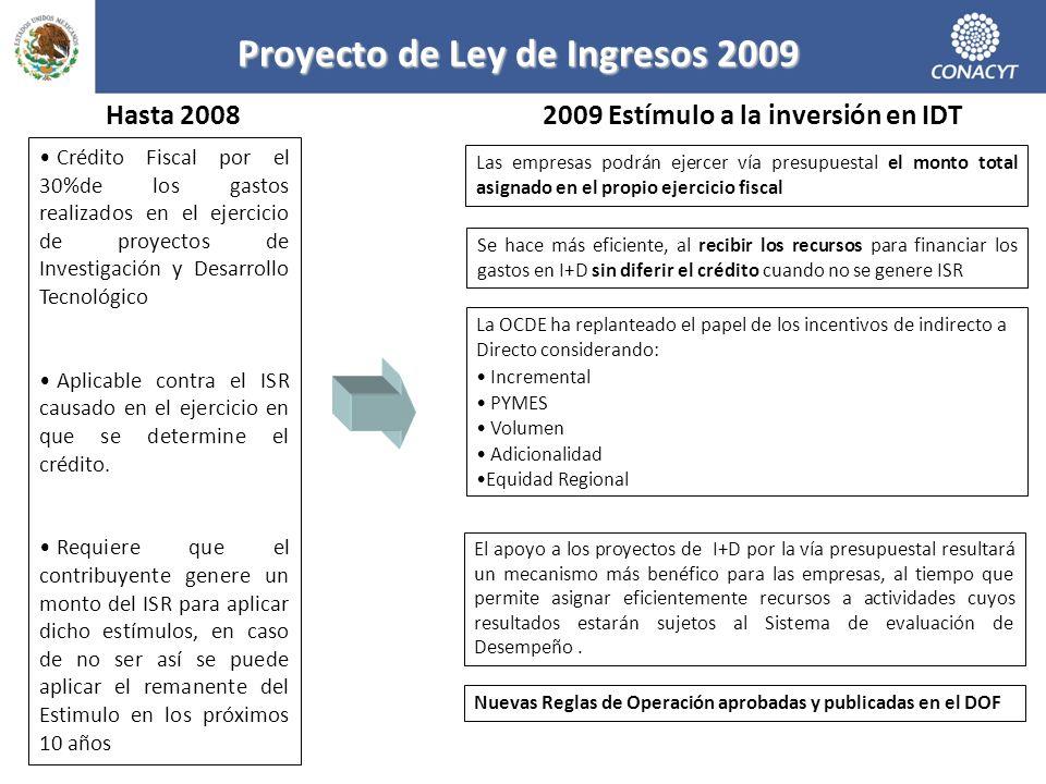 Proyecto de Ley de Ingresos 2009 Crédito Fiscal por el 30%de los gastos realizados en el ejercicio de proyectos de Investigación y Desarrollo Tecnológico Aplicable contra el ISR causado en el ejercicio en que se determine el crédito.