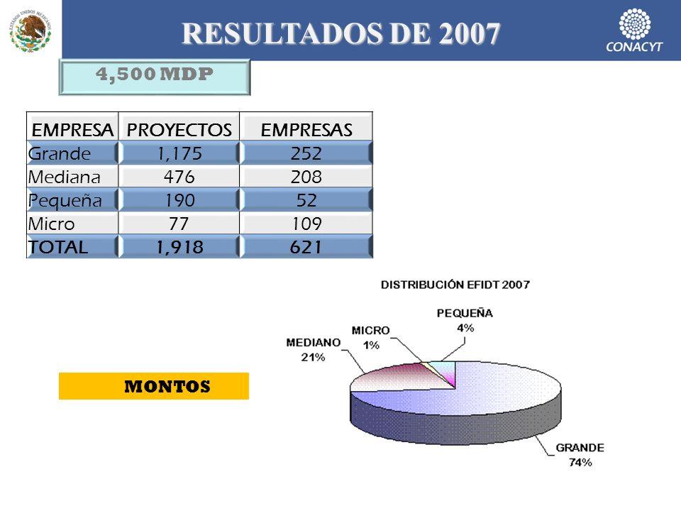 RESULTADOS DE 2007 EMPRESAPROYECTOSEMPRESAS Grande1,175252 Mediana476208 Pequeña19052 Micro77109 TOTAL1,918621 4,500 MDP MONTOS