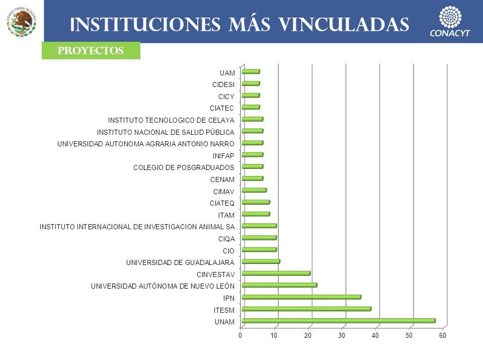 I NSTITUCIONES MÁS VINCULADAS PROYECTOS