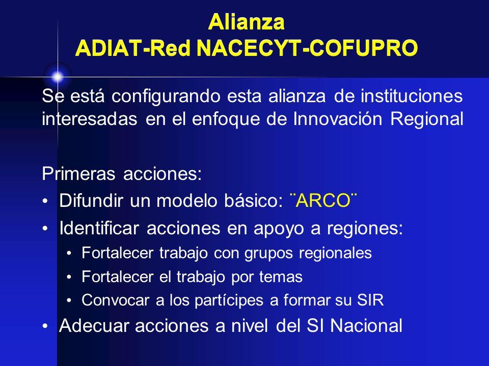 Alianza ADIAT-Red NACECYT-COFUPRO Se está configurando esta alianza de instituciones interesadas en el enfoque de Innovación Regional Primeras accione