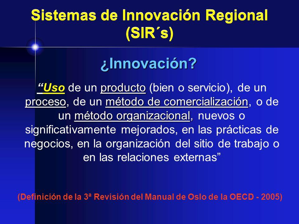 Sistemas de Innovación Regional (SIR´s) producto procesométodo de comercialización método organizacional,Uso de un producto (bien o servicio), de un p