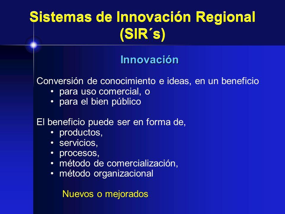 Sistemas de Innovación Regional (SIR´s) Innovación Conversión de conocimiento e ideas, en un beneficio para uso comercial, o para el bien público El b