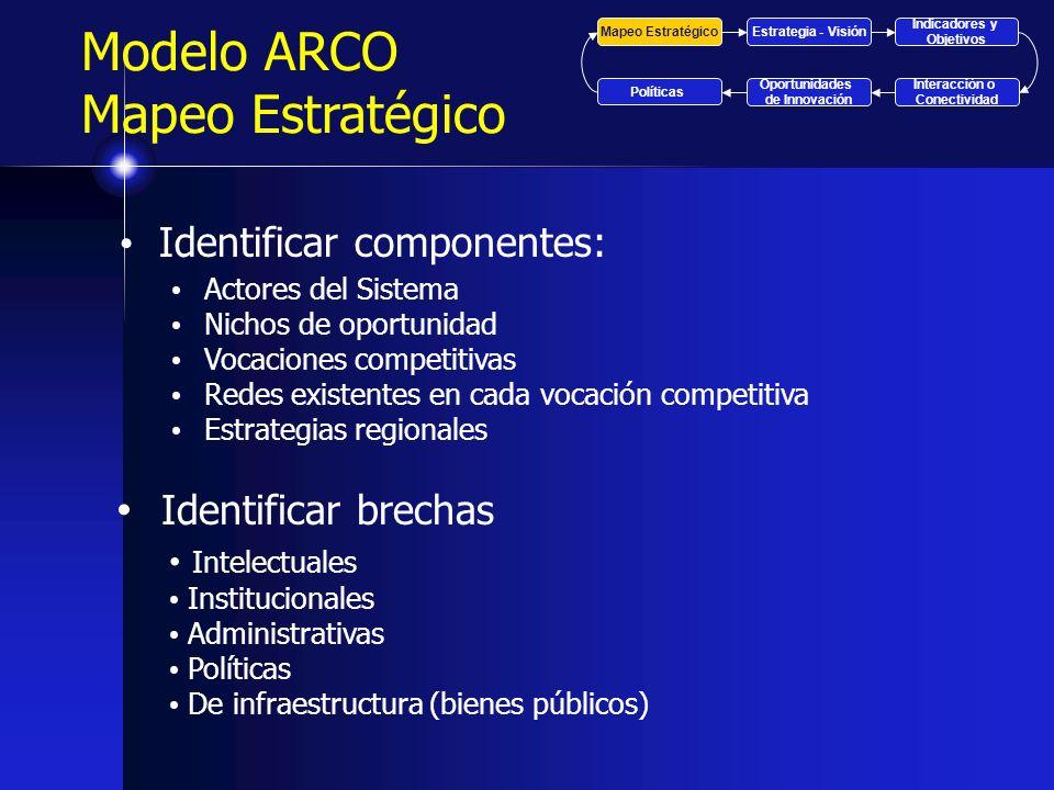Identificar componentes: Actores del Sistema Nichos de oportunidad Vocaciones competitivas Redes existentes en cada vocación competitiva Estrategias r