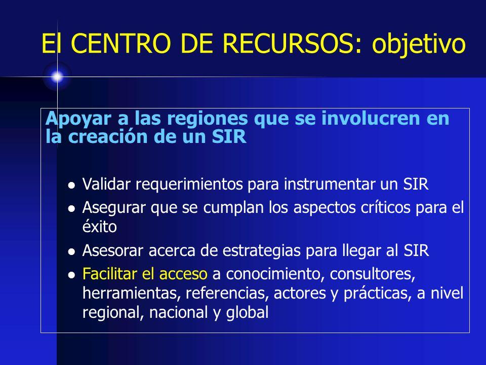 El CENTRO DE RECURSOS: objetivo Apoyar a las regiones que se involucren en la creación de un SIR Validar requerimientos para instrumentar un SIR Asegu
