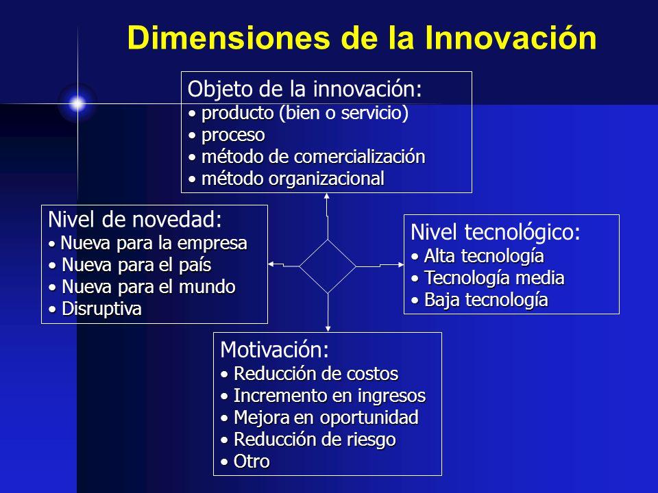 Dimensiones de la Innovación Nivel de novedad: Nueva para la empresa Nueva para la empresa Nueva para el país Nueva para el país Nueva para el mundo N