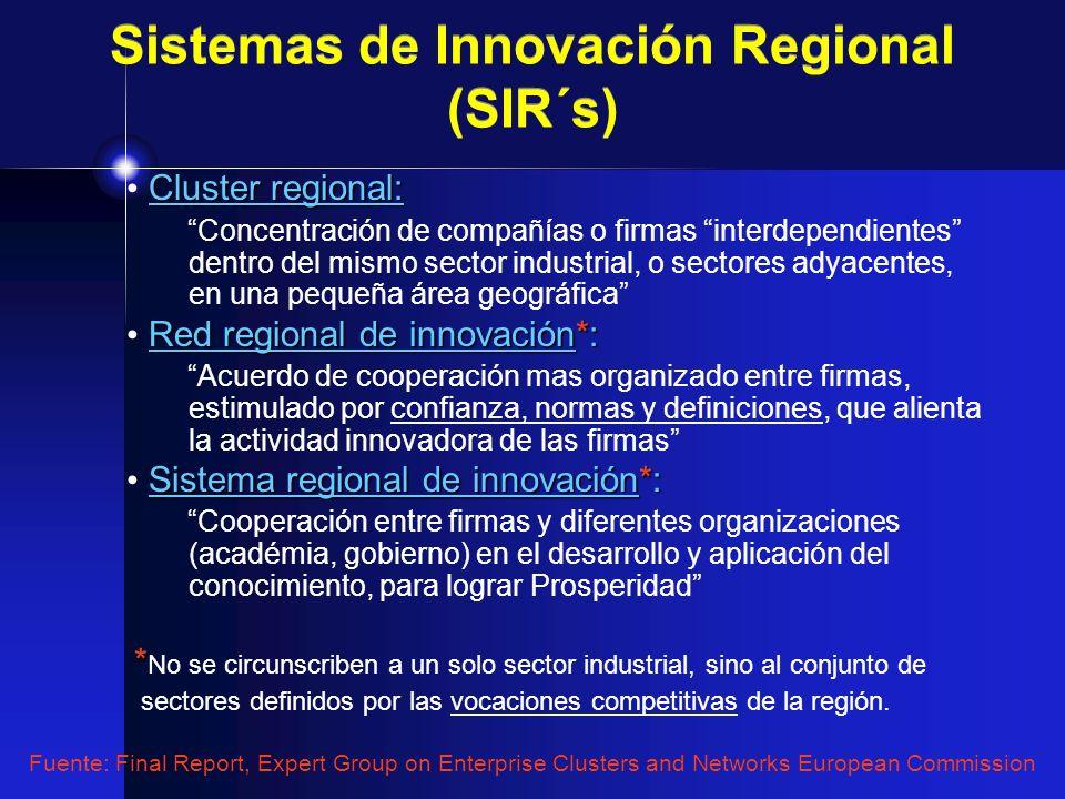 Cluster regional: Concentración de compañías o firmas interdependientes dentro del mismo sector industrial, o sectores adyacentes, en una pequeña área