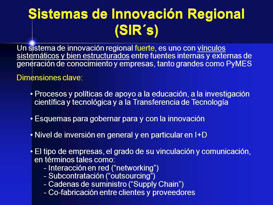 Sistemas de Innovación Regional (SIR´s) Un sistema de innovación regional fuerte, es uno con vínculos sistemáticos y bien estructurados entre fuentes