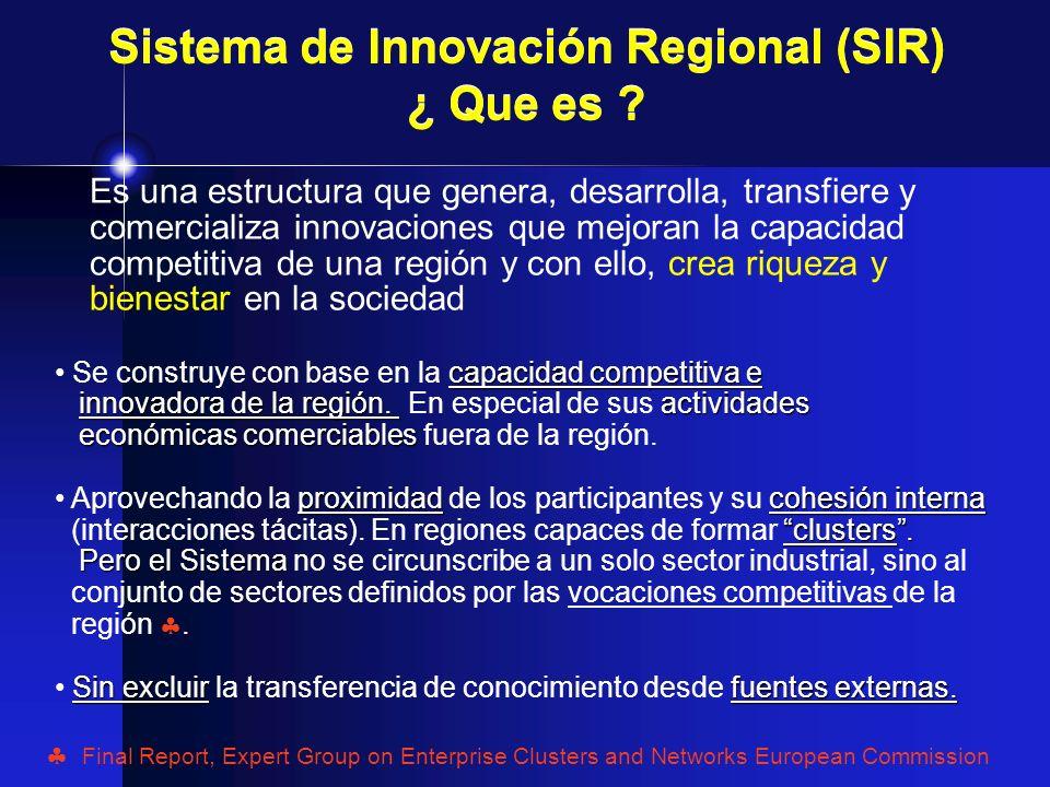 Sistemas de Innovación Regional (SIR´s) Un sistema de innovación regional fuerte, es uno con vínculos sistemáticos y bien estructurados entre fuentes internas y externas de generación de conocimiento y empresas, tanto grandes como PyMES Dimensiones clave: Procesos y políticas de apoyo a la educación, a la investigación científica y tecnológica y a la Transferencia de Tecnología Esquemas para gobernar para y con la innovación Nivel de inversión en general y en particular en I+D El tipo de empresas, el grado de su vinculación y comunicación, en términos tales como: - Interacción en red (networking) - Subcontratación (outsourcing) - Cadenas de suministro (Supply Chain) - Co-fabricación entre clientes y proveedores