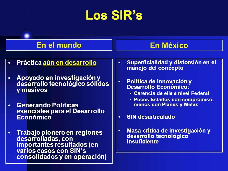 Los SIRs Práctica aún en desarrollo Apoyado en investigación y desarrollo tecnológico sólidos y masivos Generando Políticas esenciales para el Desarro
